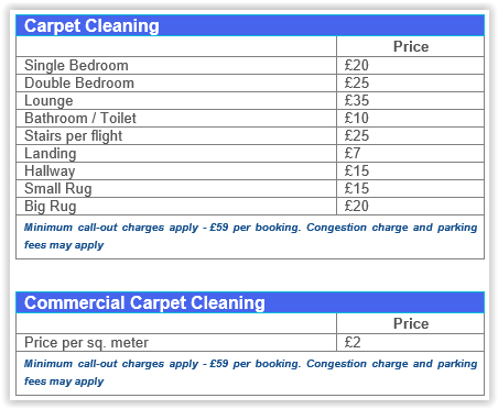 carpet cleaning Canada Water prices