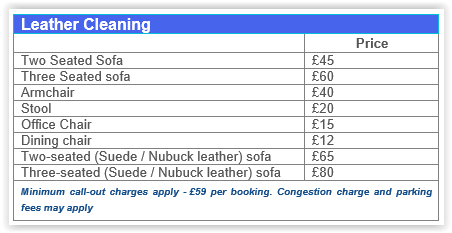 leather cleaning Canada Water SE16 prices